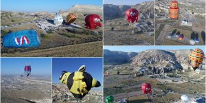 Figürlü balonlar peribacaları arasında uçtu