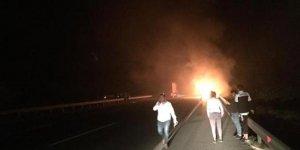Bursa'da futbolcuları taşıyan otobüs yandı