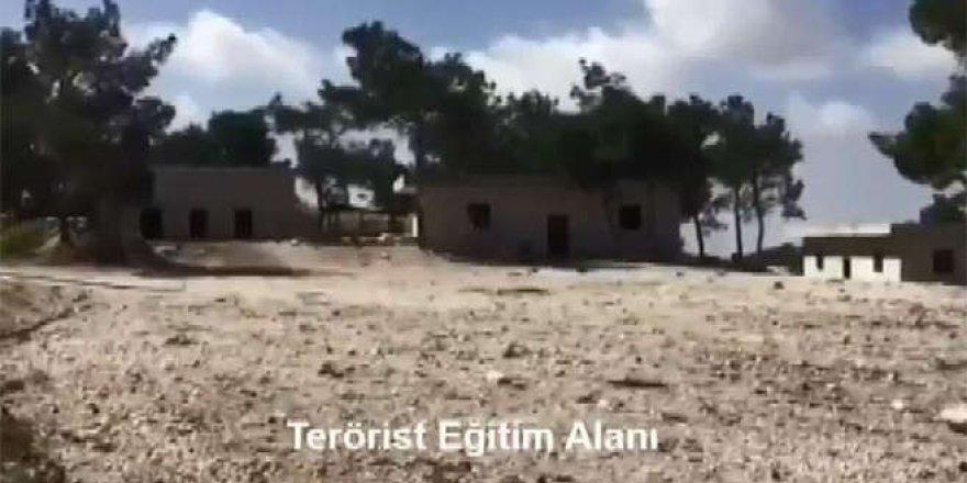 Afrin'de terör örgütünün imha edilen eğitim kampı ve muhabere merkezi