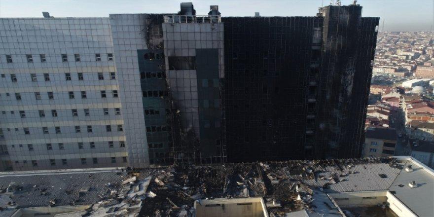 Yanan hastanenin son hali havadan böyle görüntülendi