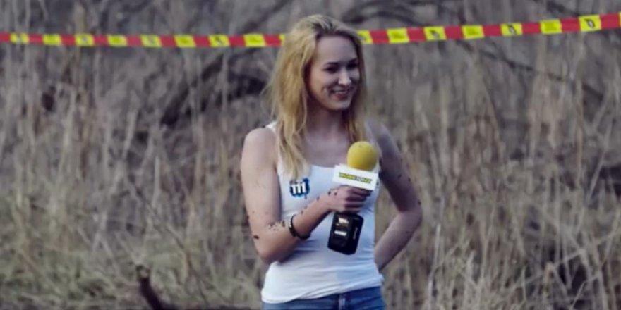 Güzel spiker, röportaj yaparken hayatının şokunu yaşadı