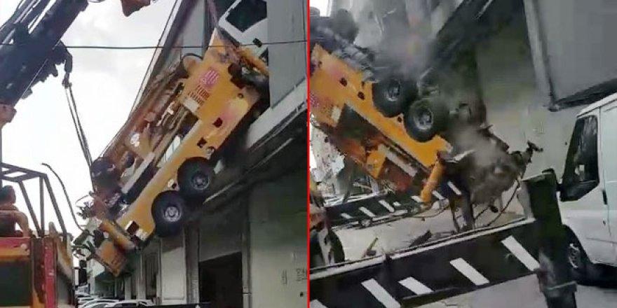8 tonluk vinç böyle yere çakıldı