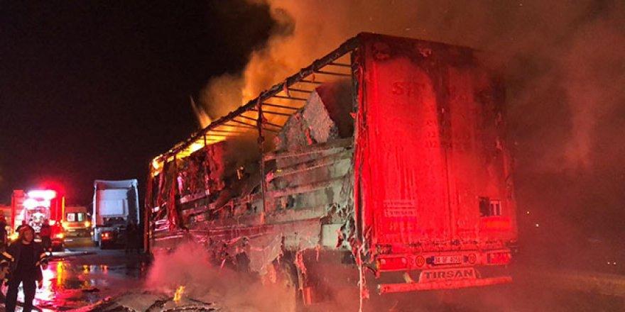 TEM'de karton yüklü TIR alev alev yandı, trafik kilitlendi