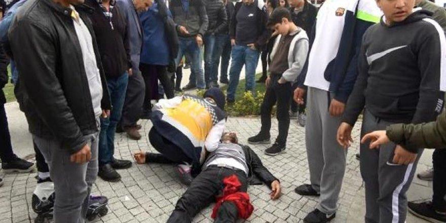 Sokak ortasında eşini döven adamı bu hale getirdiler