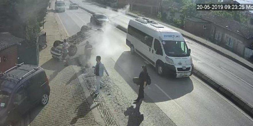 Hatalı sollama kazası kamerada