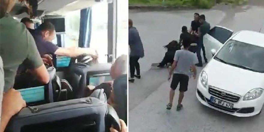 Otobüsün önünü kesip, kadını darp ederek kaçırdılar!
