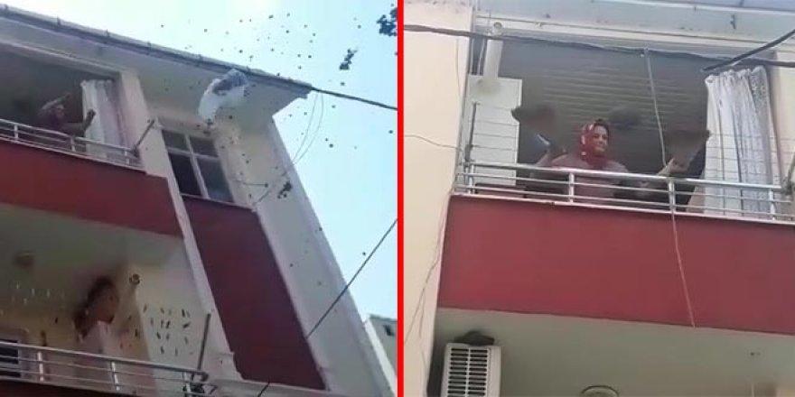 Evini yakıp balkonda dans etti!