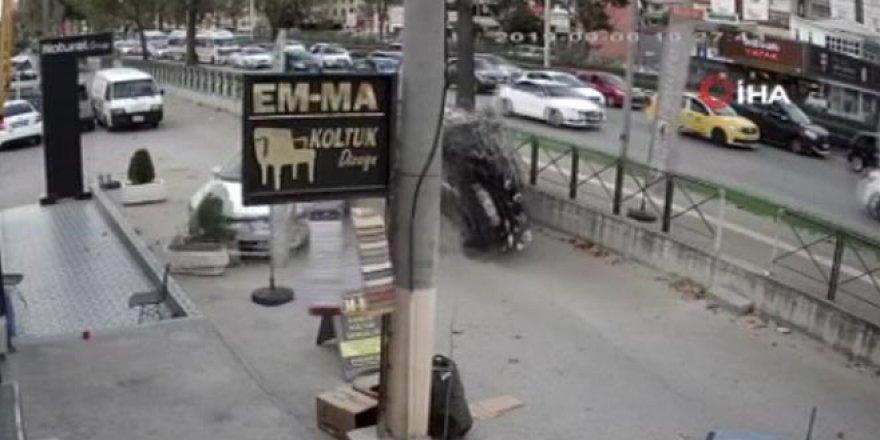 Otomobile çarptıktan sonra takla attı