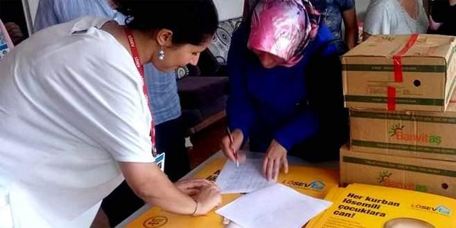 Bursa'da yaşayan LÖSEV'e kayıtlı hasta ve ailelerine yardımlar hız kesmiyor