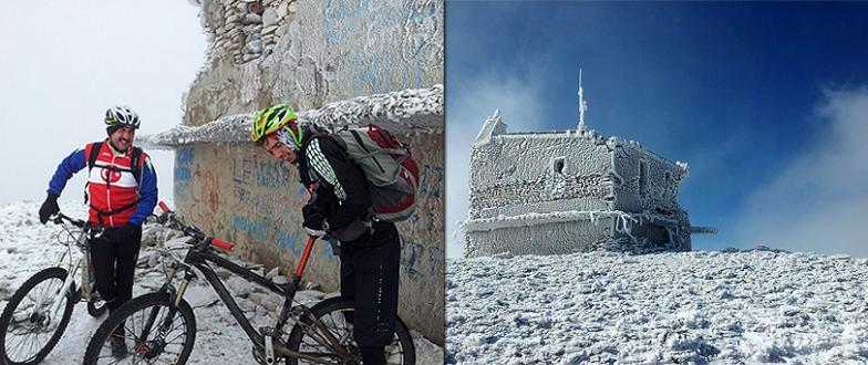 Uludağ`da ani bastıran kar şaşırttı