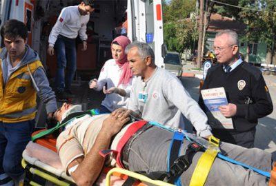 Beşinci kattan düşen işçi ağır yaralandı