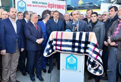 Yıldırım'dan Suriye'ye 10 TIR dolusu battaniye