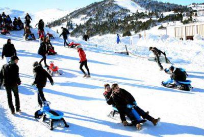 Uludağ'da kayak pistleri ralliye döndü