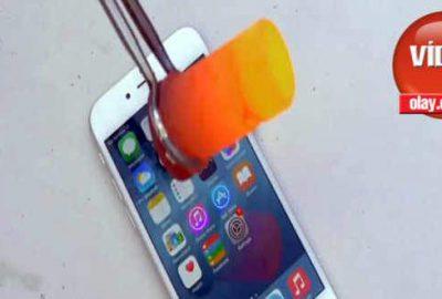 iPhone 6'nın üzerine eritilmiş alüminyum dökülürse!