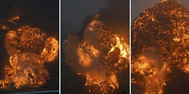 Ham petrol yüklü tren havaya uçtu