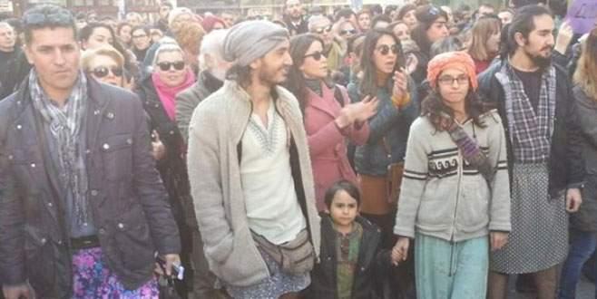 Özgecan için Taksim'de etekli eylem