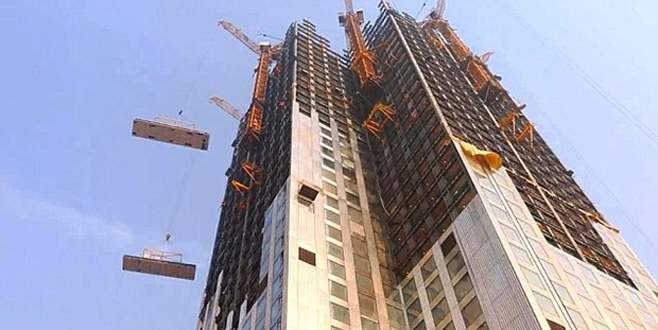 57 katlı binayı 19 günde diktiler