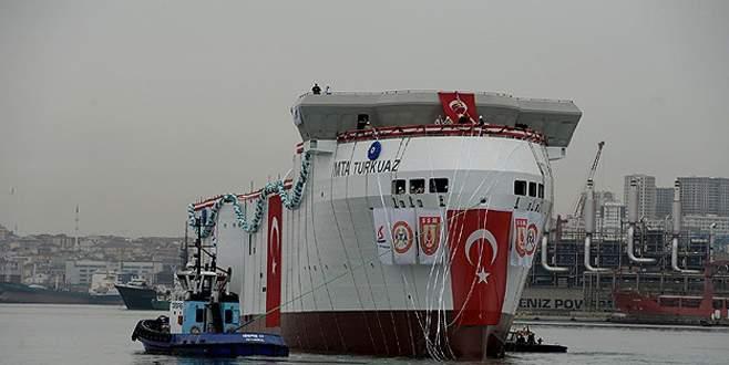 """Yerli sismik araştırma gemisi """"TURKUAZ"""" denize indirildi"""