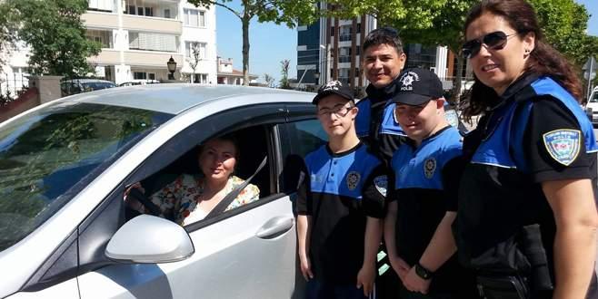 Bursa'da engelli polisler yollarda