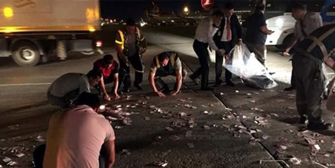 Para torbası patladı on binler aprona saçıldı