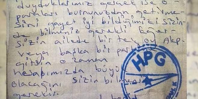 PKK dan vatandaşa oy tehdidi