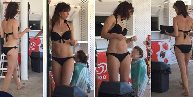 Başbakanın eşi bikiniyle yakalandı