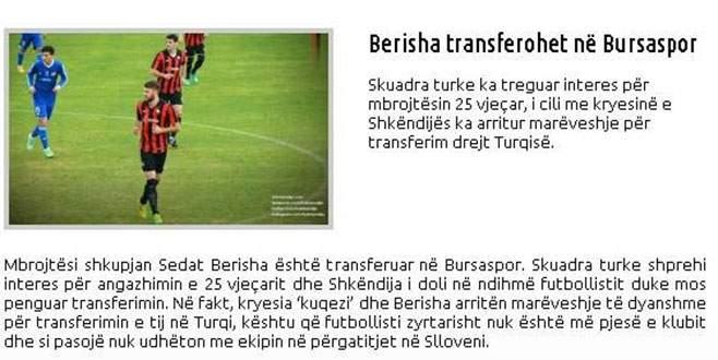 Bursaspor Berisha'yla anlaşma yolunda