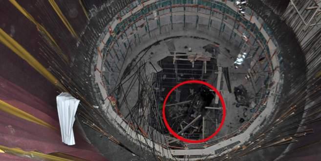 40 metrelik metro inşaatı çukuruna düştü