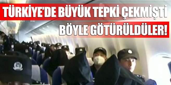 Uygur Türkleri başlarına çuval geçirilerek götürülmüş