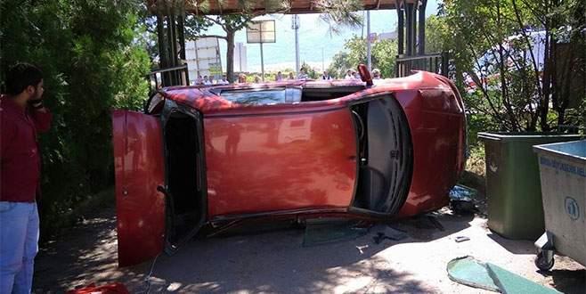 Bursa'da trafik kazası! Takla atarak durabildi