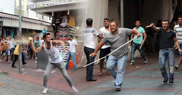 Terör eyleminde taşlı sopalı kavga!