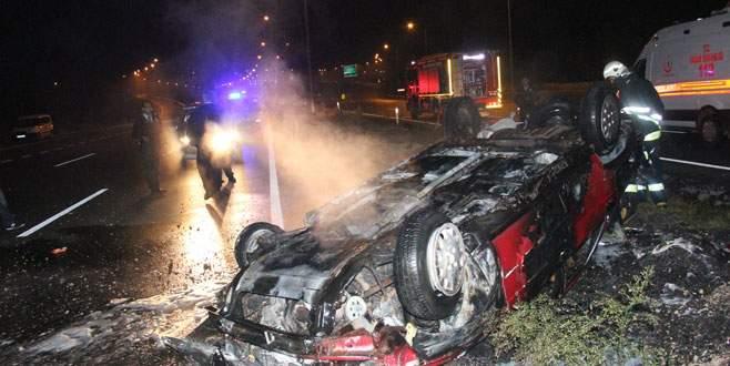 Takla atan otomobil alev alev yandı!