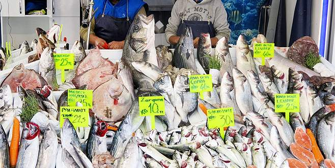 Bursa'da balık fiyatları düştü, tezgahlar şenlendi