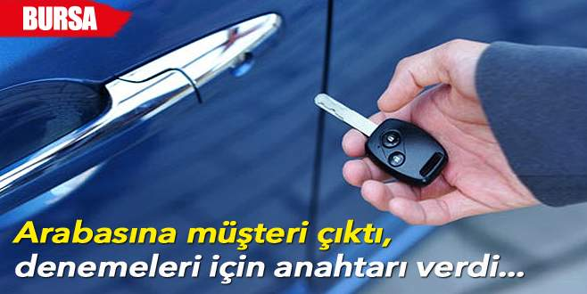 Hırsızlara arabasının anahtarını elleriyle verdi