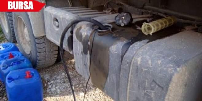 Park halindeki çekiciden 410 litre mazot çalındı