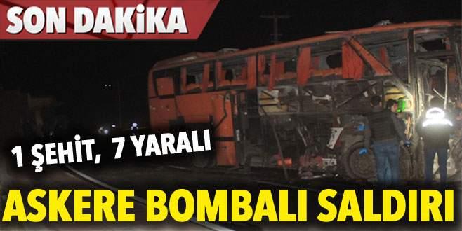 Askere bombalı saldırı: 1 şehit, 7 yaralı