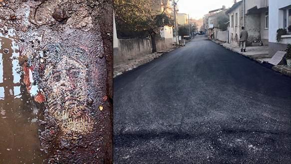 İznik'te bulunan taban mozaiğine giriş bölgesi asfaltla kaplandı