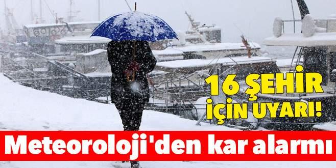 Meteoroloji'den 16 il için kar yağışı uyarısı