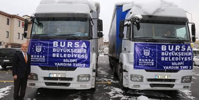 Bursa'dan Silopi'ye 2 TIR yardım malzemesi