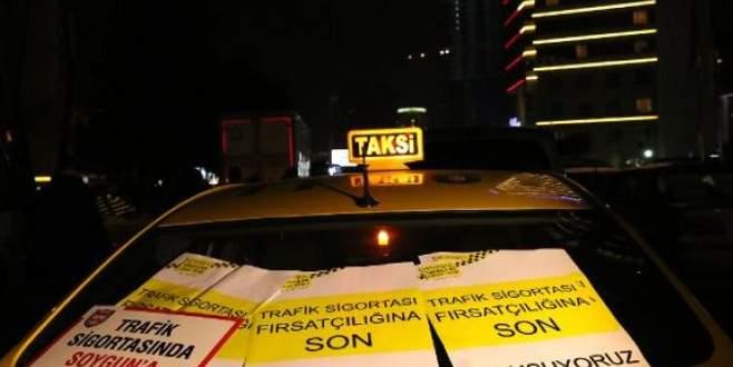 Taksicilerden 'sigorta' protestosu