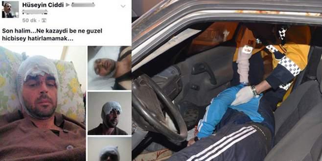 Kaza yaptı, Facebook sayfasına yazdı: Ne kazaydı be!