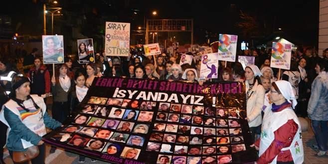 Bursa'da kadın cinayetlerine tepki yürüyüşü