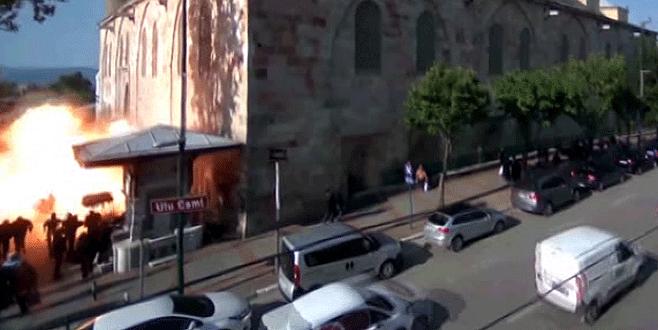 Bursa'daki canlı bomba saldırısında alevler böyle yükseldi