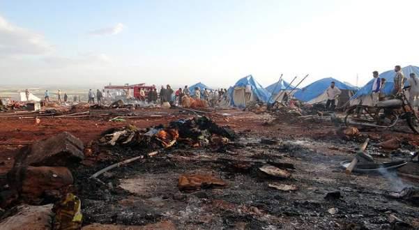 Esed güçleri İdlib'te çadır kenti vurdu: 27 ölü