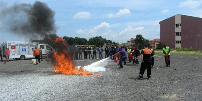Büyükorhan'da yangın tatbikatı