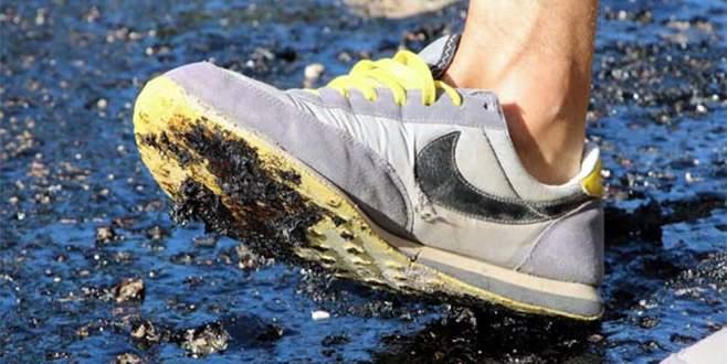 Sıcaktan asfalt eridi!