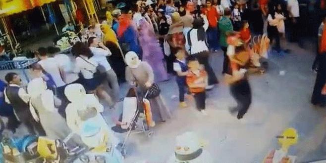 Bursa'da 'asılsız canlı bomba' paniği kamerada