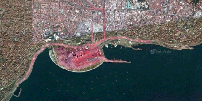 Dev mitingin uydudan çekilmiş görüntüsü