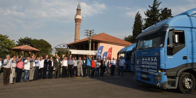 Makedonya'ya 4 TIR yardım