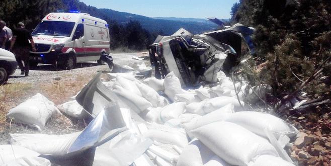 Bursa'da kamyonet şarampole yuvarlandı: 1 ölü
